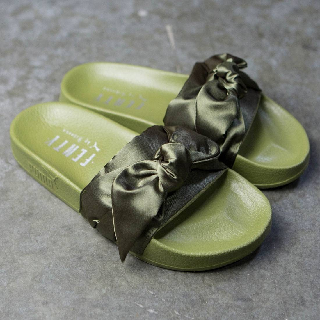 super popular 7c4bb 1513c Puma x Fenty By Rihanna Women Bow Slides (olive / silver)