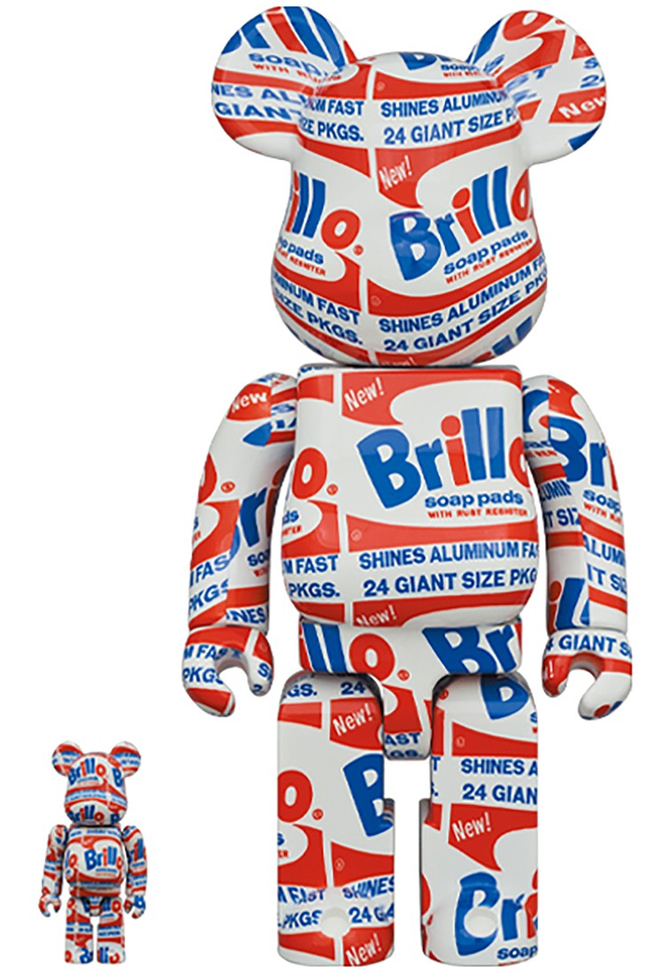 PREORDER - Medicom Andy Warhol Brillo 100% 400% Bearbrick Figure Set (white)