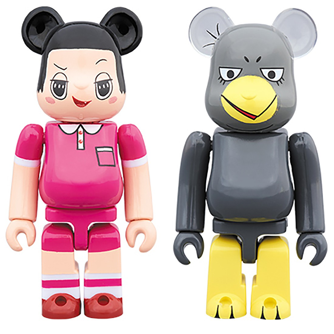 PREORDER - Medicom Chico Will Scold You Chiko-Chan And Kyoe Chan 2 Pack 100% Bearbrick Figure Set (pink / gray)