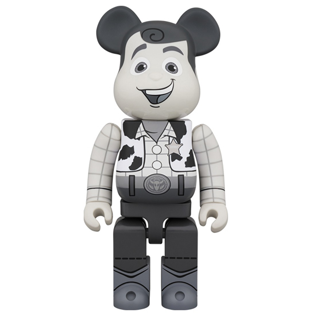 PREORDER - Medicom Toy Story Woody Black And White 400% Bearbrick Figure (gray)