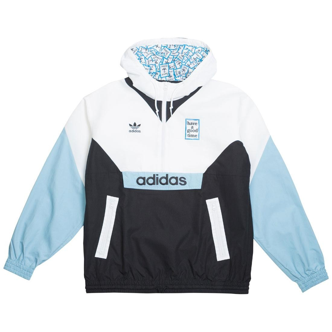 Adidas x Have A Good Time Men Pullover Windbreaker Jacket (white black clear blue)