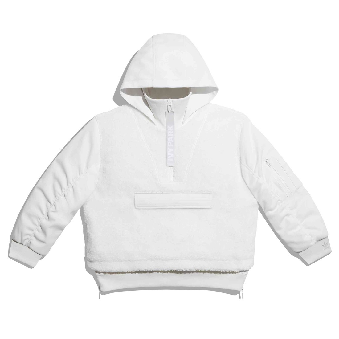 Adidas x Ivy Park Men 1/2 Zip Quilted Sherpa Layered Jacket (white / core white)