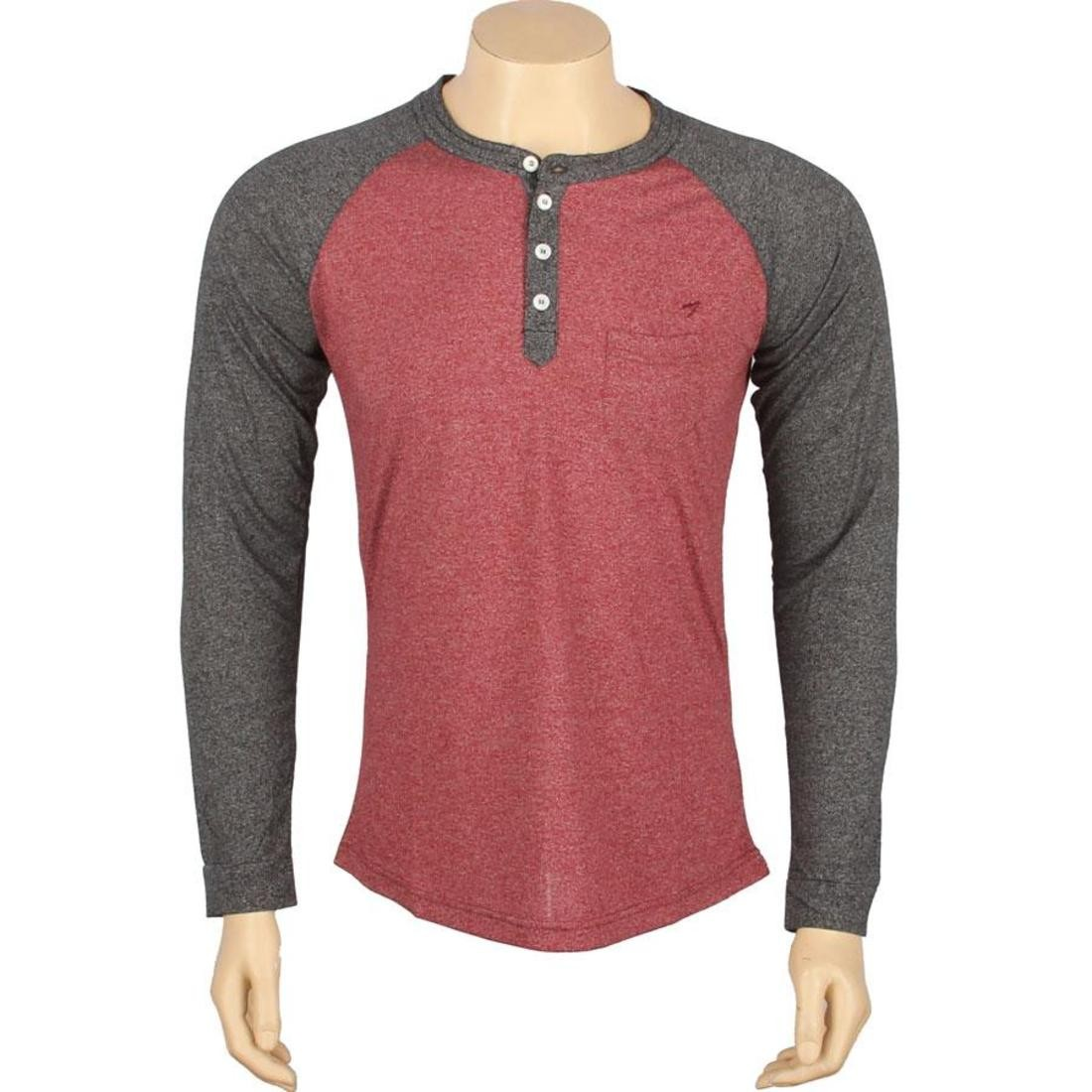 ARSNL Harris Long Sleeve Raglan Henley (maroon speckle)