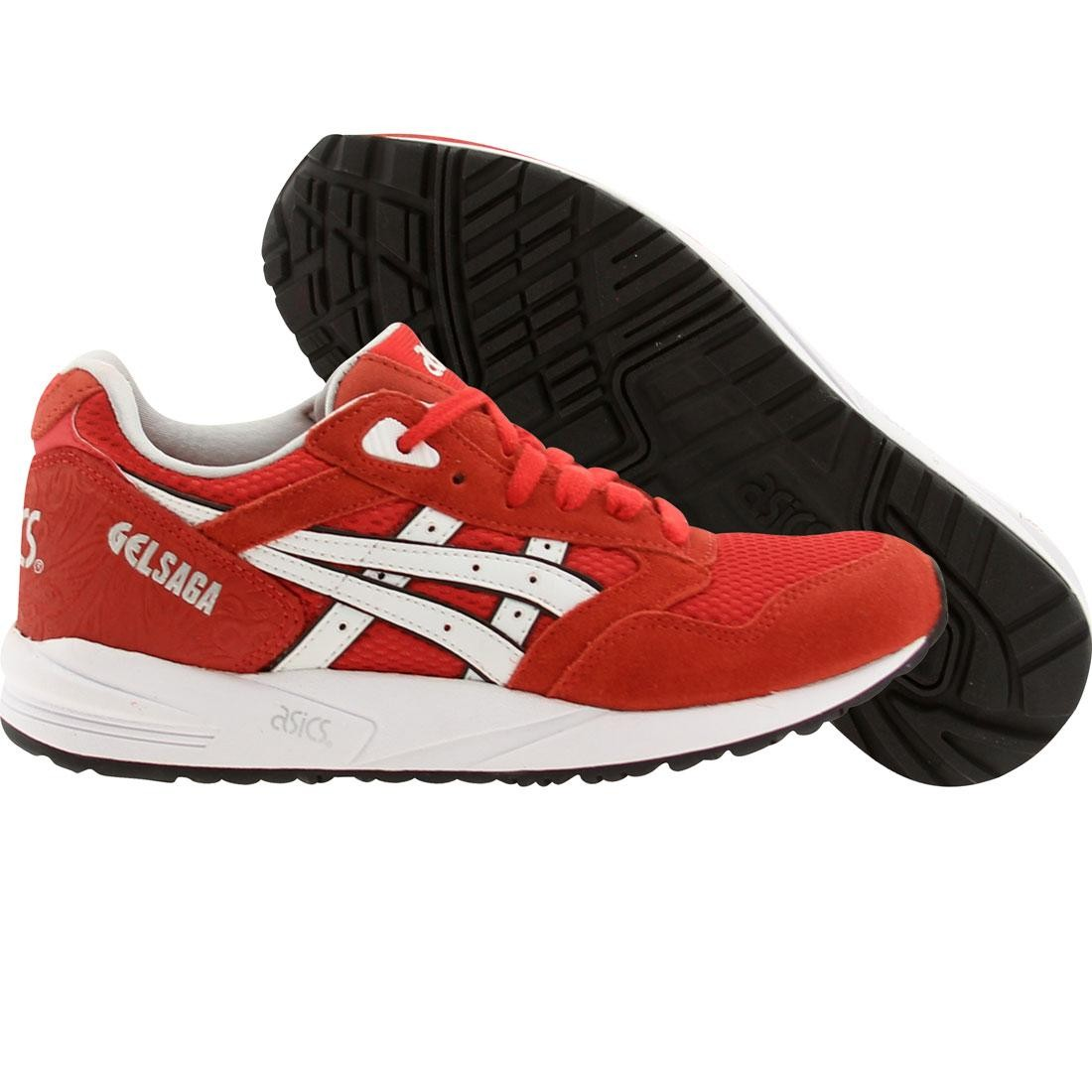 asics tiger women gel-saga (red / fiery red / white)