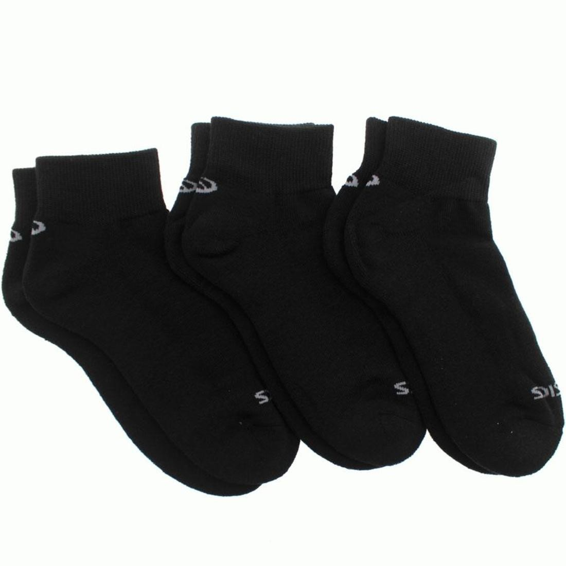 asics tiger 3 pack cushion quarter socks (black)