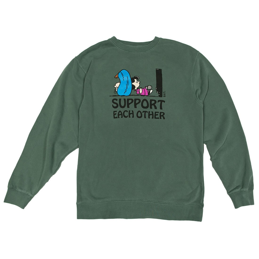BAIT x Snoopy Men Support Each Other Crewneck Sweater (green)