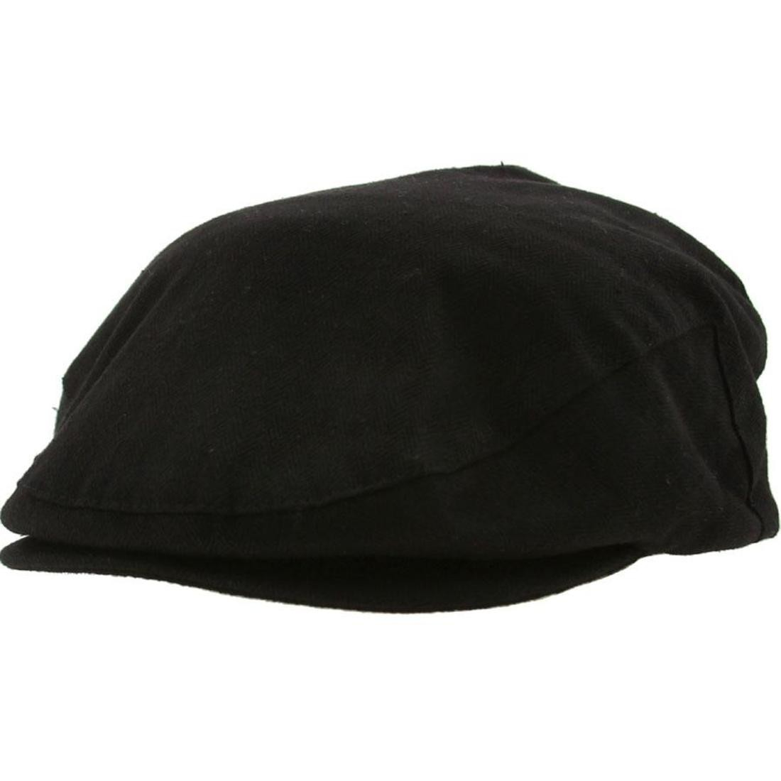 Brixton Hooligan Flat Cap (black herringbone twill)