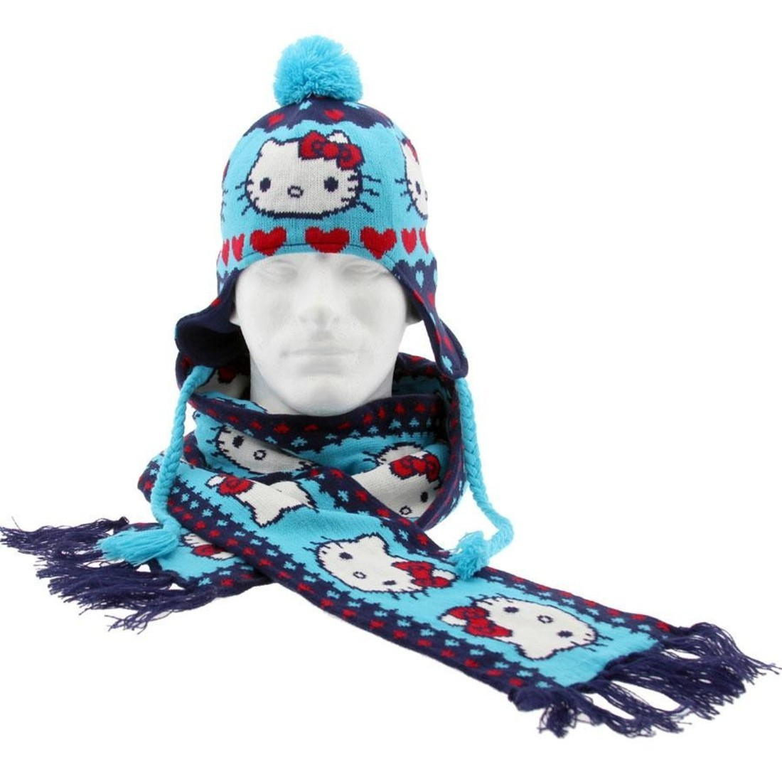 764629676 Hello Kitty Hearts Scarf And Beanie Gift Pack (blue / navy)