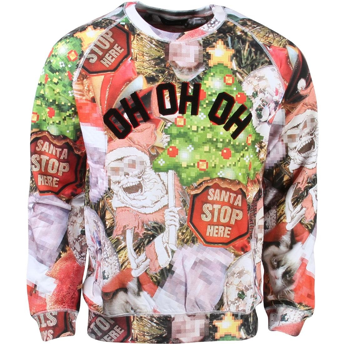 Eleven Paris Men Holiday Ho Ho Ho Mirrored Sweater red green