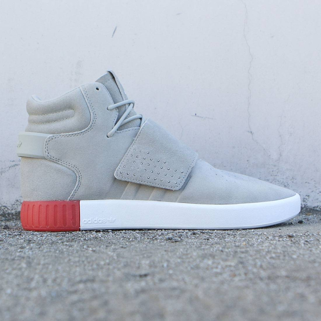 Adidas Men Tubular Invader Strap (tan / sesame / vivid red)