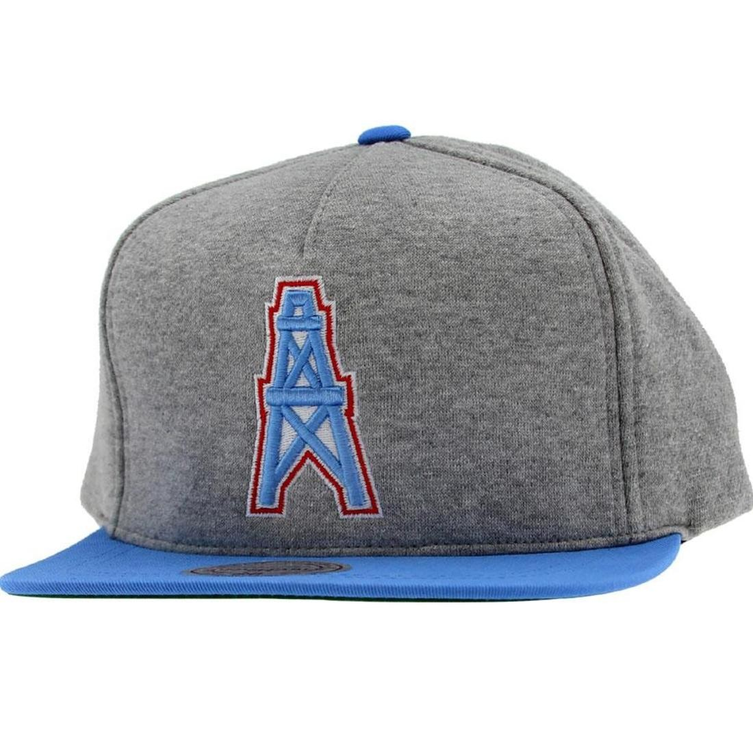 reputable site 73544 86ba2 Mitchell And Ness Houston Oilers NFL Heather Fleece 2 Toned Snapback Cap  (grey / blue)