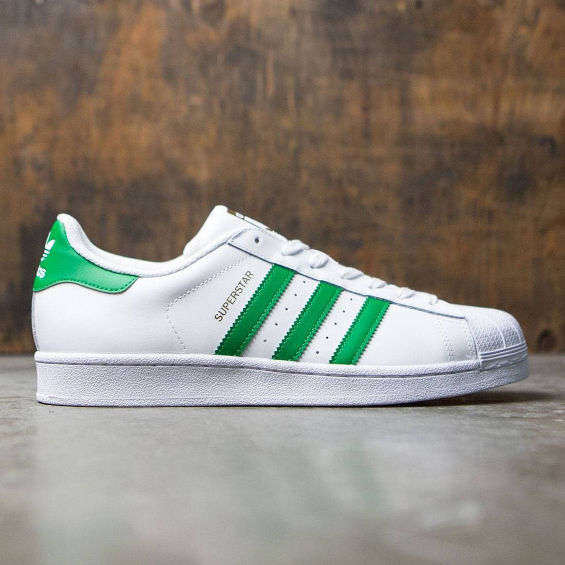 cheap for discount 14911 a542b Adidas Men Superstar Foundation white green gold metallic