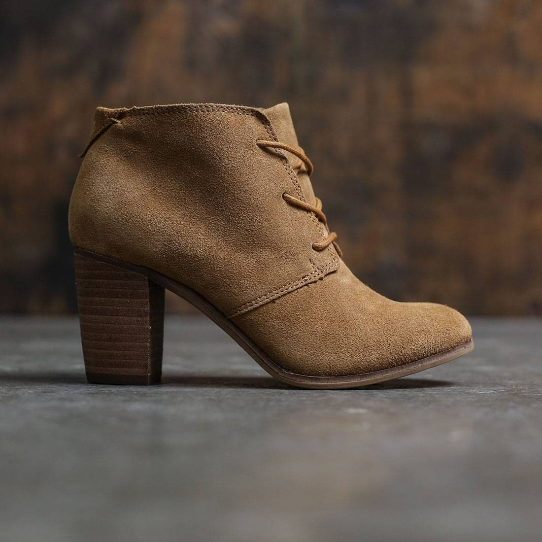 06b557032a8 TOMS Women Lunata Lace Up Bootie - Wheat Suede brown wheat suede