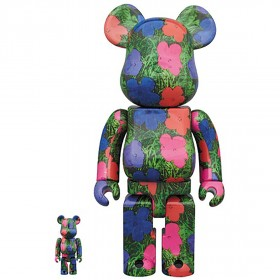 PREORDER - Medicom Andy Warhol Flowers 100% 40% Bearbrick Figure Set (green)