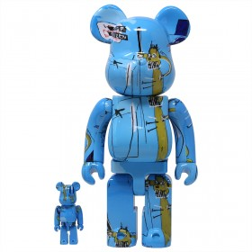 Medicom Jean-Michel Basquiat #4 100% 400% Bearbrick Figure Set (blue)
