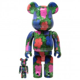 Medicom Andy Warhol Flowers 100% 400% Bearbrick Figure Set (green)