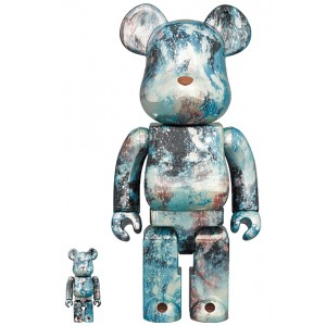 PREORDER - Medicom Pushead #5 100% 400% Bearbrick Figure Set (blue)