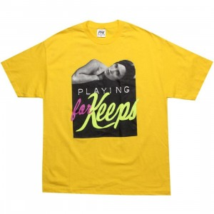Playing For Keeps Chick Tee (yellow)