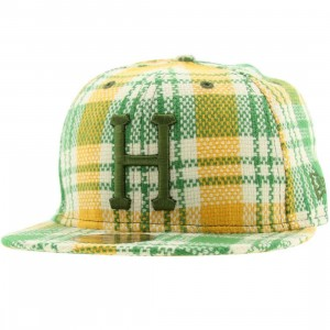 Huf Flea Market Plaid New Era Fitted Cap (yellow)