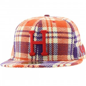 Huf Flea Market Plaid New Era Fitted Cap (orange)