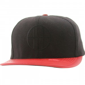 Huf Leather Brim Circle H Cap (black / red)