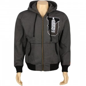 Under Crown Houndstooth Full Zip Hooded Sweatshirt (black / smoke / white)