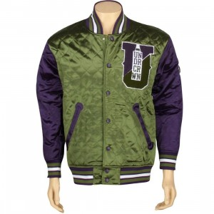 Under Crown World Champ Bomber Jacket (purple / forest green)