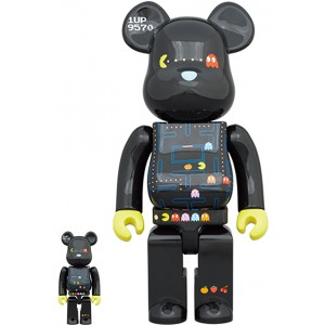 Medicom Pac-Man 100% 400% Bearbrick Figure Set (black)