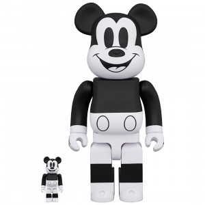 PREORDER - Medicom Disney Mickey Mouse Black And White 2020 Ver 100% 400% Bearbrick Figure Set (black / white)