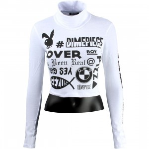 Dimepiece Women Verbage Crop Turtleneck Sweater (white)