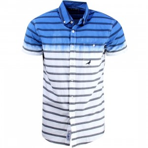 Staple Men Finish Stripe Woven Short Sleeve Shirt (navy)