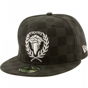 Crooks and Castles Checkered New Era Fitted Cap (black / white)