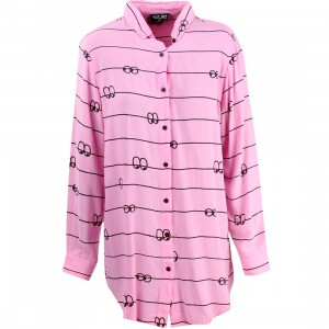 Lazy Oaf Women Eyeline Long Sleeve Shirt (pink)