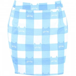 Lazy Oaf Women Cat Gingham A-line Skirt (blue)