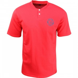 Brixton Men Rival Short Sleeve Henley Tee (red)