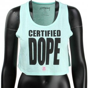 Stussy Women Certified Dope Crop Tank Top (aqua)