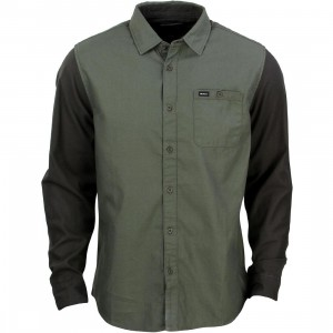 RVCA Men Two Tone Long Sleeve Shirt (olive / dark olive)