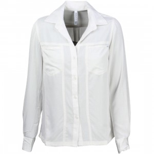 RVCA Women Tricks Of Trade Long Sleeve Shirt (white / vintage)
