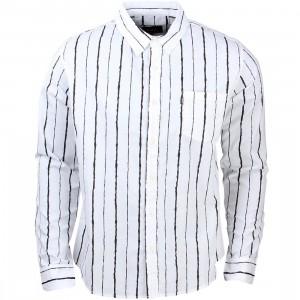 HUF Men Broken Stripe Long Sleeve Shirt (white / black)