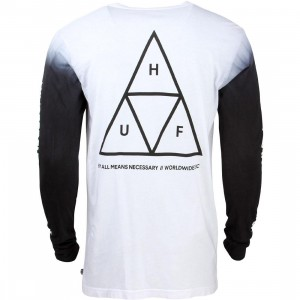 HUF Men Triple Triangle Long Sleeve Tee (black / dye)