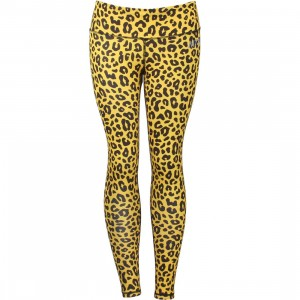 Married To The Mob Women Leopard Print Warrior Yoga Pants (brown / leopard)