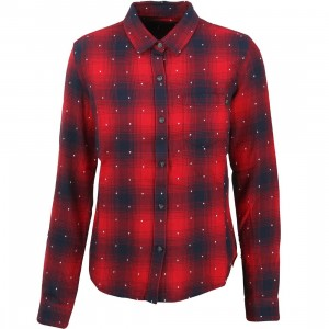 Obey Women Redwood Button Down Shirt (red)