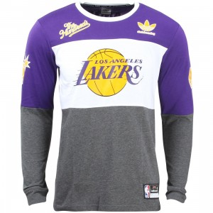 Adidas The Hundreds Men LA Lakers Long Sleeve Tee (purple / regal purple / white / dark grey heather)