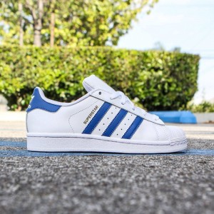 Adidas Big Kids Superstar (white / eqt blue)