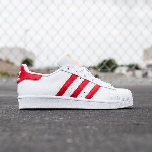 Adidas Big Kids Superstar (white / scarlet / footwear white)