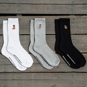 40s and Shorties Rapper 3 Pack Socks (gray / white / black) 1S
