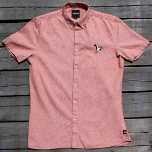 Barney Cools Men Excursion Short Sleeve Shirt (red / vintage)
