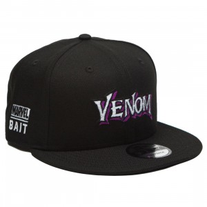 BAIT x Marvel x New Era 9Fifty Venom Wordmark Black Snapback Cap (black)