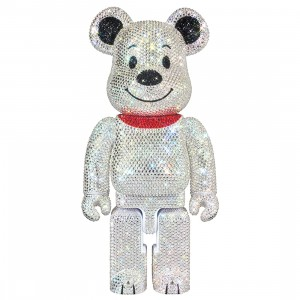 Medicom Lights Style Swarovski Crystal Decorate Snoopy 400% Bearbrick Figure (gray)