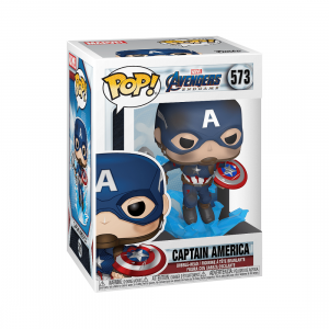 PREORDER - Funko POP Marvel Endgame Captain America With Broken Shield And Mjolnir (navy)